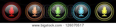 microphone colored web icons set on black background