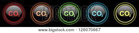 carbon dioxide colored web icons set on black background