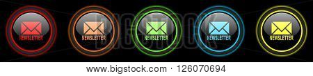newsletter colored web icons set on black background