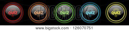 quiz colored web icons set on black background