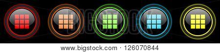 thumbnails grid colored web icons set on black background