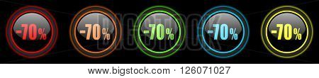 70 percent sale retail colored web icons set on black background