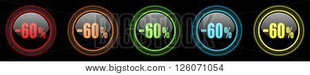 60 percent sale retail colored web icons set on black background