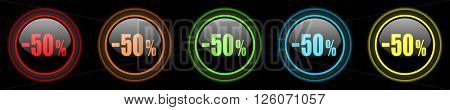 50 percent sale retail colored web icons set on black background