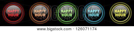 happy hour colored web icons set on black background