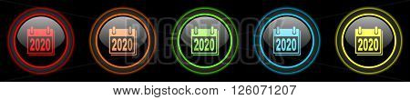 new year 2020 colored web icons set on black background
