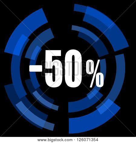 50 percent sale retail black background simple web icon
