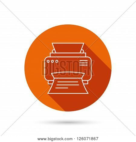 Printer icon. Print document technology sign. Office device symbol. Round orange web button with shadow.