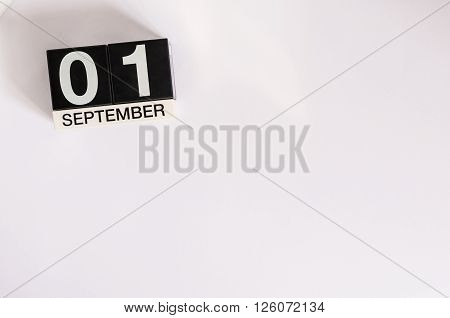 September 1st. Image of september 1 calendar on background. Empty space for text. Back to school time.