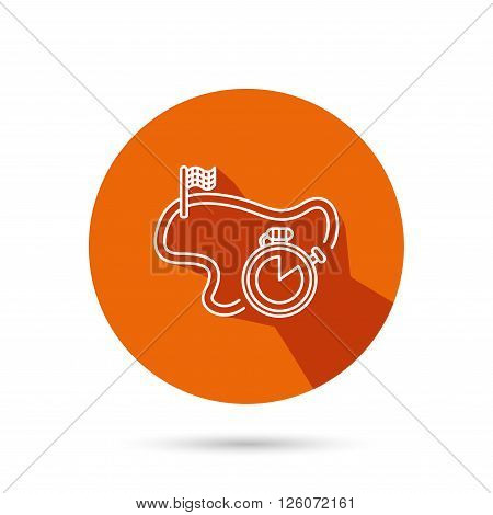Race road icon. Finishing flag with timer sign. Round orange web button with shadow.