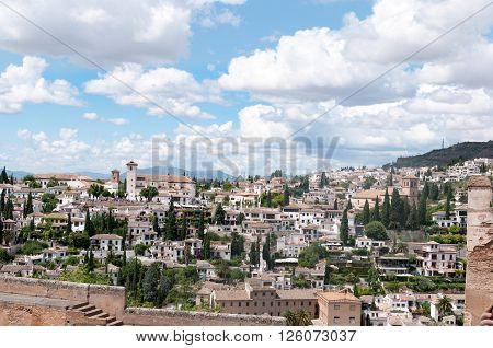 A view from Alhambra toward Mirador San Nicolas