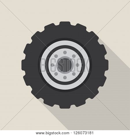 Transport car wheel drive service and car wheel vehicle element flat vector. Car wheel cartoon flat vector illustration on white background.