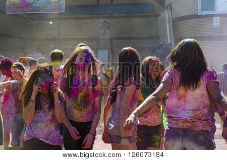 London Ontario, Canada - April 16:  Unidentified Young Colorful Guys With Girls On The Phone Having