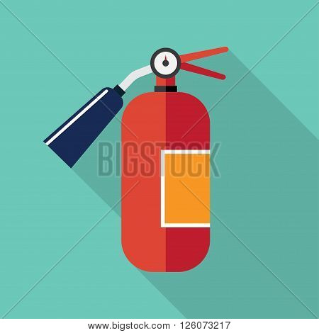 red metal glossiness fire extinguisher vector illustration