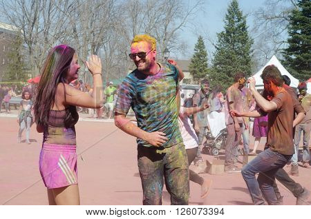 London Ontario, Canada - April 16:  Unidentified Young Colorful Guys Having Fun And Dancing At The F