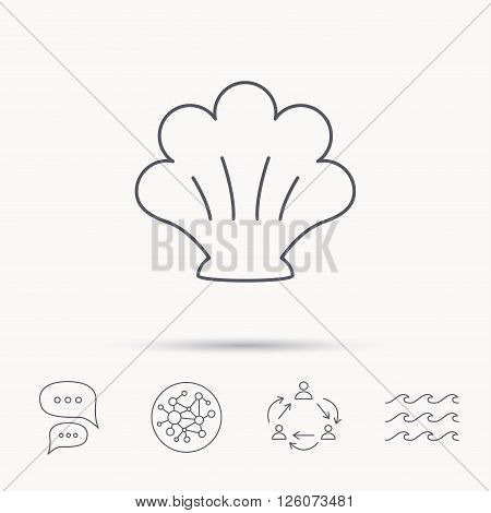 Sea shell icon. Seashell sign. Mollusk shell symbol. Global connect network, ocean wave and chat dialog icons. Teamwork symbol.