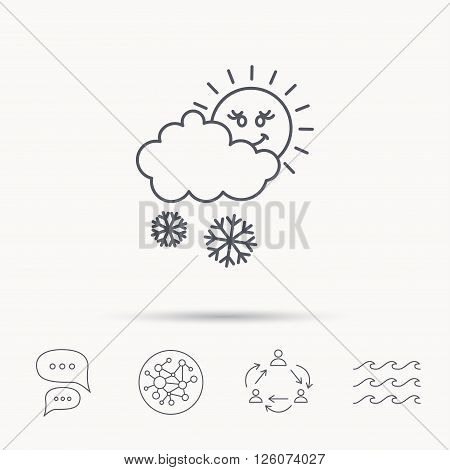 Snow with sun icon. Snowflakes with cloud sign. Snowy overcast symbol. Global connect network, ocean wave and chat dialog icons. Teamwork symbol.