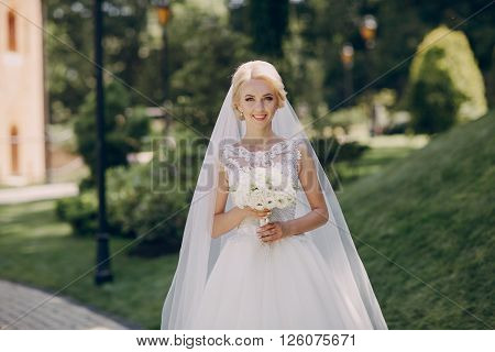 beautiful summer wedding in a nice park sunny weather