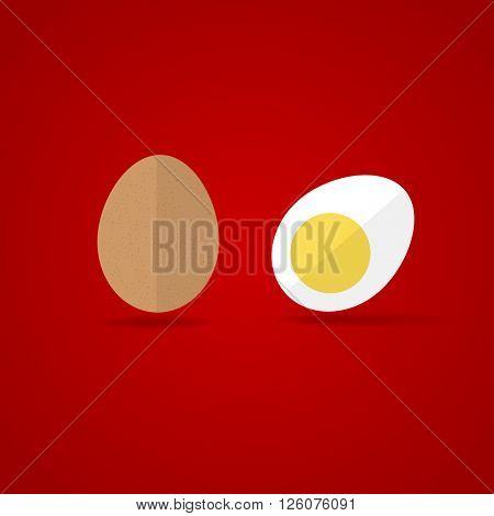 Egg Icon. Flat design style brown whole and cut eggs symbol on red background