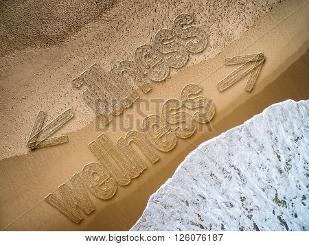 Wellness - Illness written on the beach