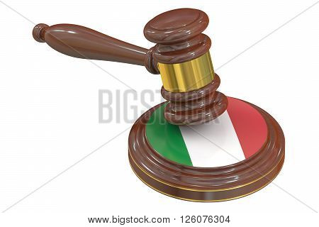Wooden Gavel with Flag of Italy 3D rendering