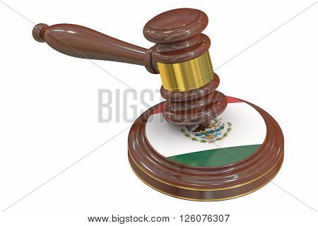 Wooden Gavel with Flag of Mexico 3D rendering