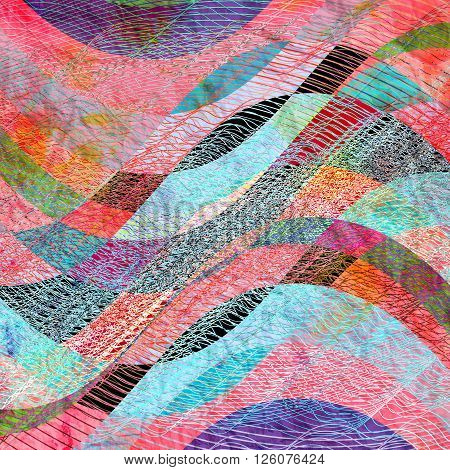 Abstract wonderful vintage watercolor style background with colorful waves