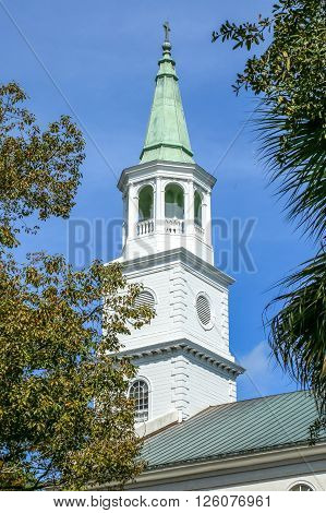 The historical  Steeple of St Helena's Episcopal Church in Beaufort, SC.  It was built in 1817 & has been maintain for nearly 200 yrs.