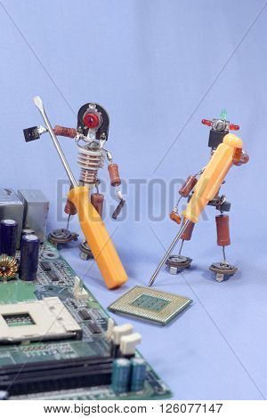 puppet men from old radio components employed computer repair