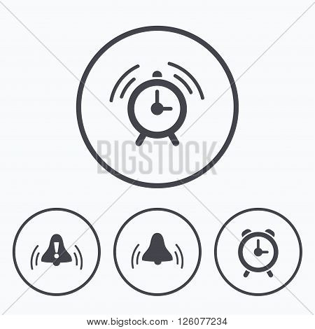Alarm clock icons. Wake up bell signs symbols. Exclamation mark. Icons in circles.