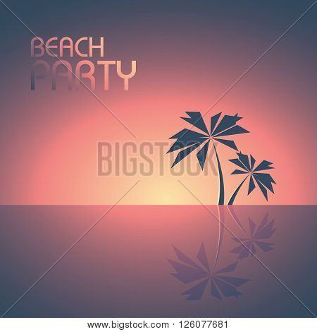 Beach party poster template with palm trees on the horizon vector background. Summer illustration concept for travel and fun. Eps10 vector illustration.