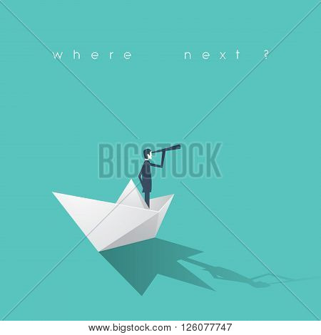 Businessman with monocular on a paper boat as a symbol of business leadership. Business concept of vision, mission or ambitions.