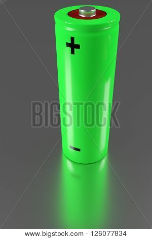 green rendered AA battery on a shiny table, 3d rendering