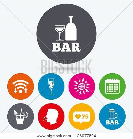 Wifi, like counter and calendar icons. Bar or Pub icons. Glass of beer and champagne signs. Alcohol drinks and cocktail symbols. Human talk, go to web.