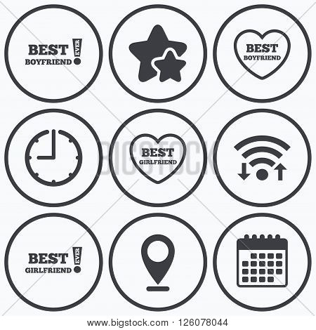 Clock, wifi and stars icons. Best boyfriend and girlfriend icons. Heart love signs. Awards with exclamation symbol. Calendar symbol.