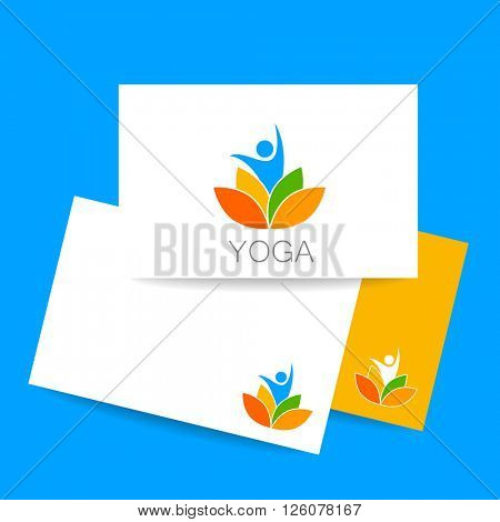 Yoga logo and identity card. Health Care, Beauty, Spa, Relax, Meditation, Nirvana concept icon.  Vector illustration for yoga studio, event, school, club, web.