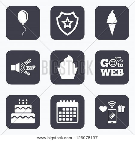 Mobile payments, wifi and calendar icons. Birthday party icons. Cake with ice cream signs. Air balloon with rope symbol. Go to web symbol.
