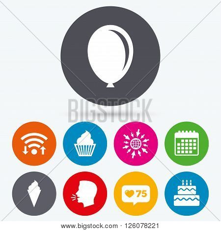 Wifi, like counter and calendar icons. Birthday party icons. Cake with ice cream signs. Air balloon symbol. Human talk, go to web.