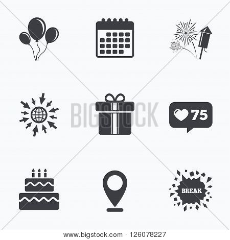 Calendar, like counter and go to web icons. Birthday party icons. Cake and gift box signs. Air balloons and fireworks symbol. Location pointer.