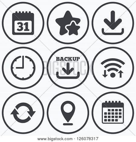 Clock, wifi and stars icons. Download and Backup data icons. Calendar and rotation arrows sign symbols. Calendar symbol.