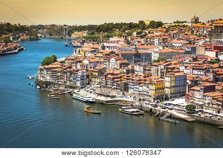 Porto Portugal -21 May 2015:View of Porto Ribeira and Douro river in Porto Portugal