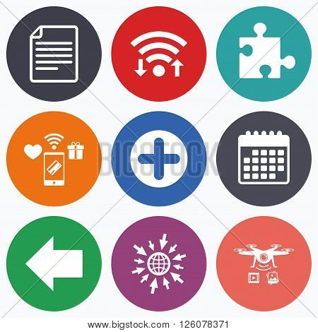 Wifi, mobile payments and drones icons. Plus add circle and puzzle piece icons. Document file and back arrow sign symbols. Calendar symbol.