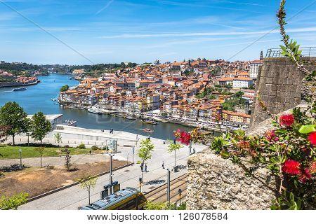 Porto Portugal -21 May 2015:View of Porto Ribeira and Douro river in Porto Portugal