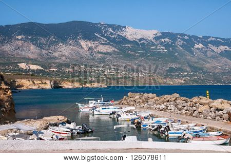 Boats at Pessada harbour on Kefalonia island Greece