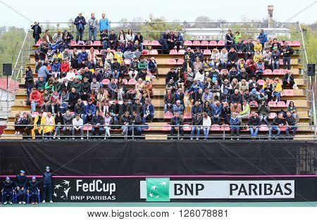 KYIV UKRAINE - APRIL 16 2016: Tribunes of central court of Campa Bucha Tennis Club during BNP Paribas FedCup game Ukraine vs Argentina Kyiv Ukraine