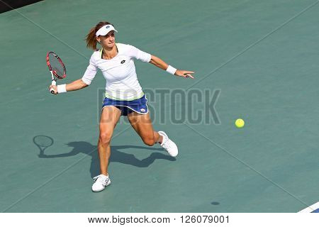 KYIV UKRAINE - APRIL 16 2016: Lesia Tsurenko of Ukraine in action during BNP Paribas FedCup World Group II Play-off game against Nadia Podoroska of Argentina at Campa Bucha Tennis Club in Kyiv