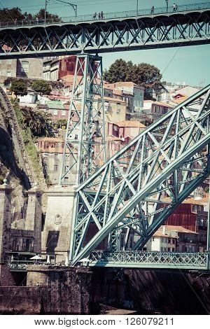 Porto Portugal -21 May 2015:Dom Luis bridge in Porto Portugal