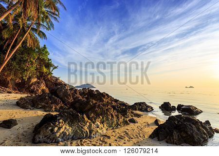 Rocky Taling Ngam beach at evening in Samui Thailand