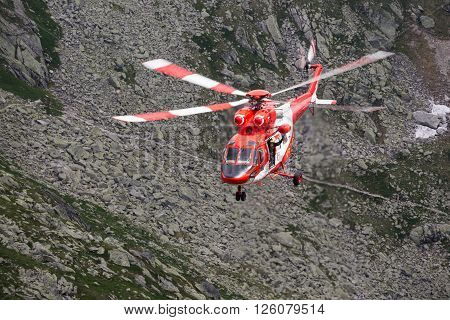 Zako pane Poland-July 4, 2015:Helicopter mountain rescue service in the High Tatras.