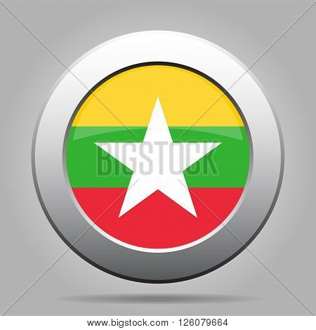 metal button with the national flag of Myanmar Burma on a gray background